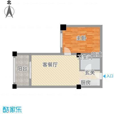 知言・棋子湾一号62.20㎡F户型1室2厅1卫1厨