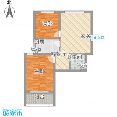 广泰瑞景城82.00㎡二期5#B2-1户型2室2厅1卫1厨