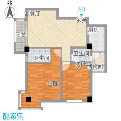 时代财富城6.82㎡C-财富公馆D座户型2室2厅2卫