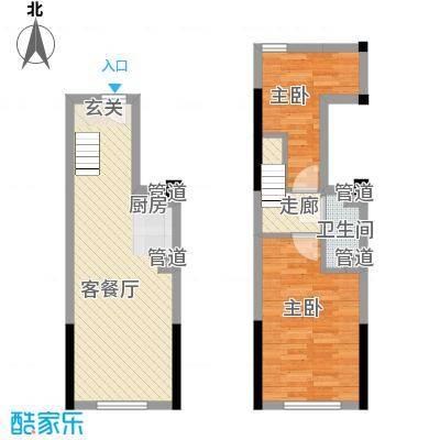筑石快乐公馆35.80㎡A户型2室1厅1卫1厨