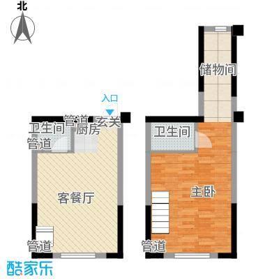 筑石快乐公馆34.47㎡F户型1室1厅2卫1厨
