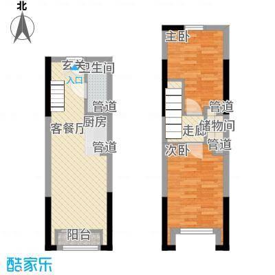 筑石快乐公馆36.20㎡G1户型2室1厅1卫1厨
