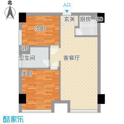金鼎花园户型2室2厅1卫1厨