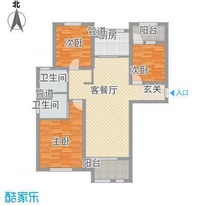 德仁・翡翠城131.68㎡C4户型3室2厅2卫1厨