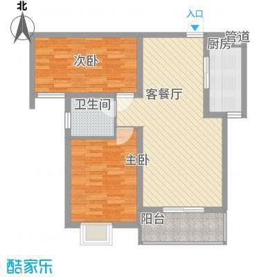 良兴美嘉城3.83㎡标准层H户型2室2厅1卫1厨