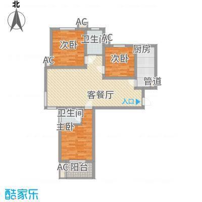 良兴美嘉城113.66㎡标准层B二户型3室2厅2卫1厨