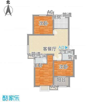 良兴美嘉城123.50㎡15#标准层一户型3室2厅2卫1厨
