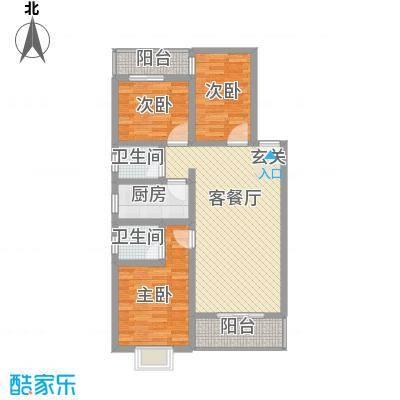 富瑞明珠I型户型3室2厅2卫1厨