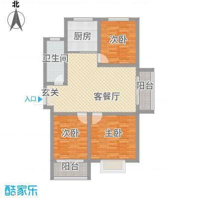 滨海花园112.88㎡E户型3室2厅1卫1厨