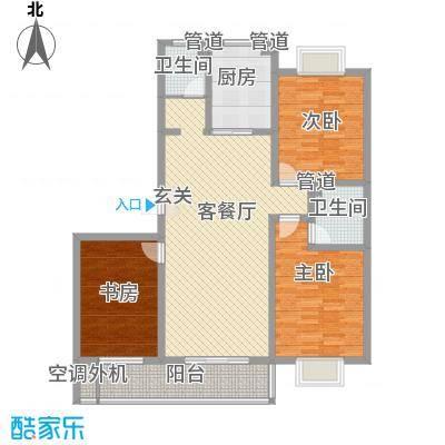 滨海花园127.80㎡多层10#B户型2室1厅1卫1厨