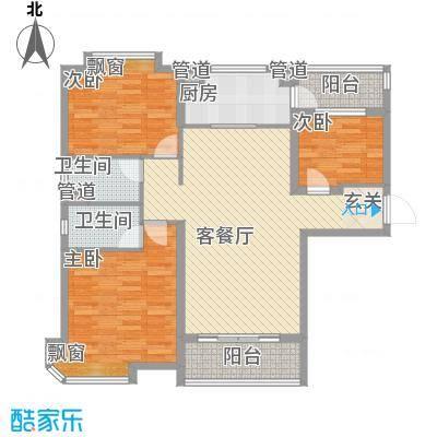 东台碧桂园131.00㎡一期精装洋房J472-A户型3室2厅2卫1厨