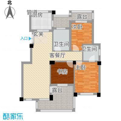 柏顿公馆117.10㎡高层F1顶楼户型3室2厅2卫1厨