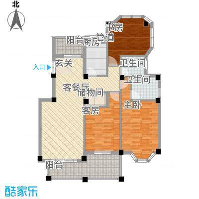 柏顿公馆132.45㎡高层H1户型3室2厅2卫1厨