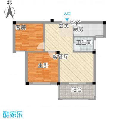 柏顿公馆87.70㎡高层G2户型2室2厅1卫1厨