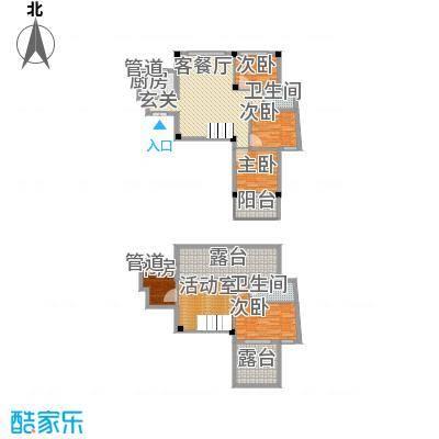 柏顿公馆181.33㎡高层G1`顶楼复式户型5室3厅2卫1厨