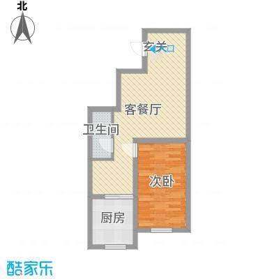 亿隆富贵名苑66.60㎡一期高层户型1室2厅1卫