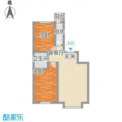 自由花园88.60㎡J户型2室2厅1卫