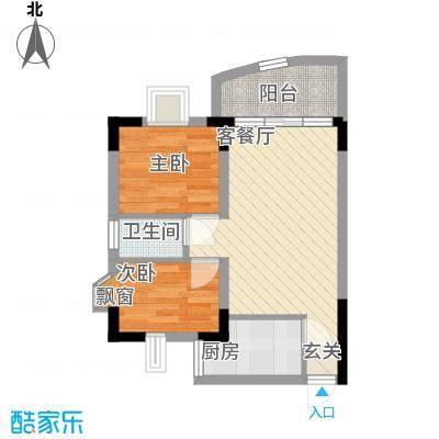丽水湾55.50㎡户型2室2厅1卫1厨