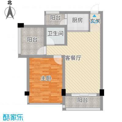 柳东国际77.83㎡1#D户型1室2厅1卫1厨