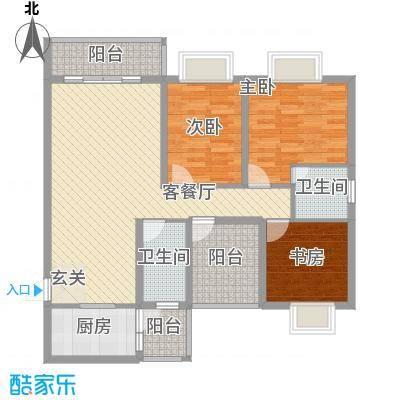 柳东国际121.15㎡2#B户型3室2厅2卫1厨