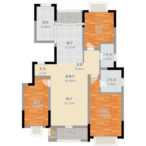 中惠卡丽兰3室2厅2卫1厨134.00㎡户型图