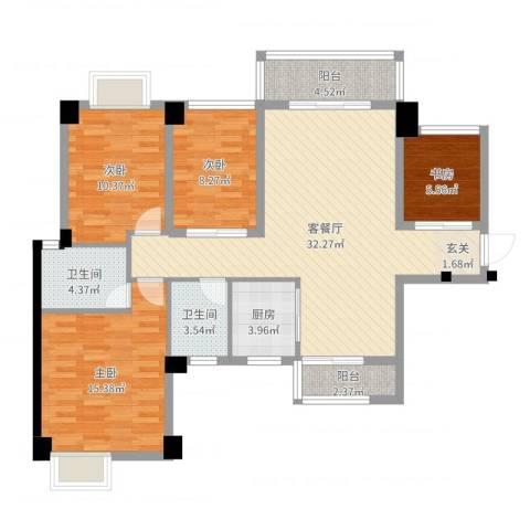 泰禾•江山美地4室2厅2卫1厨113.00㎡户型图