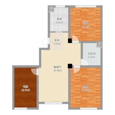 赛格特东城名苑3室2厅1卫1厨108.00㎡户型图