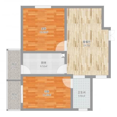 万隆花园2室2厅1卫1厨75.00㎡户型图