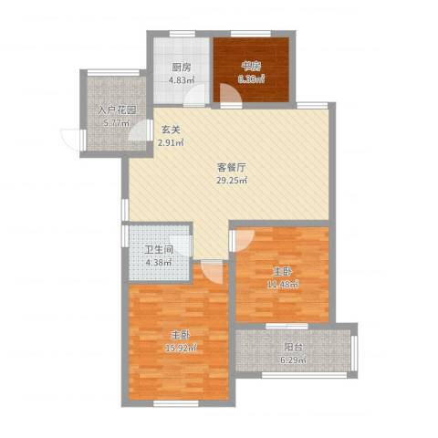 御园.润金城3室2厅1卫1厨105.00㎡户型图