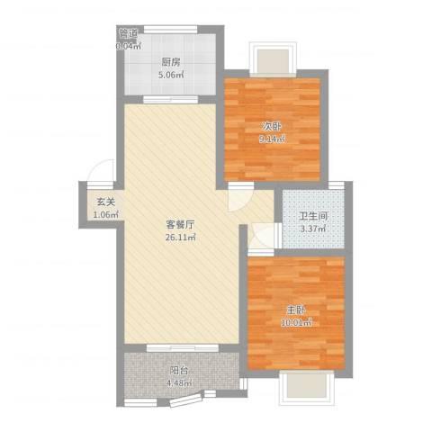 临湖社区2室2厅1卫1厨73.00㎡户型图