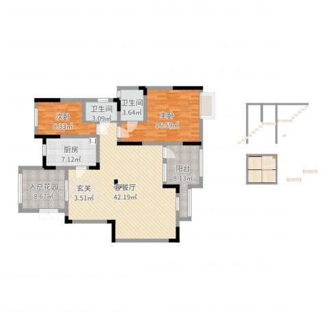 阳光绿城2室2厅2卫1厨127.00㎡户型图