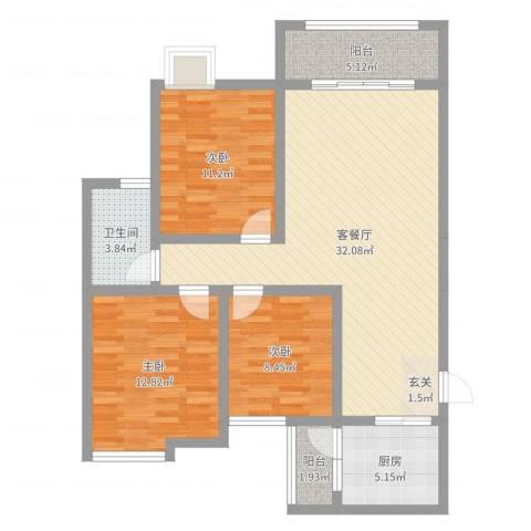 永川金域蓝湾二期3室2厅1卫1厨101.00㎡户型图