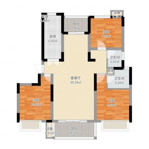 绿地波士顿公馆3室2厅2卫1厨99.00㎡户型图