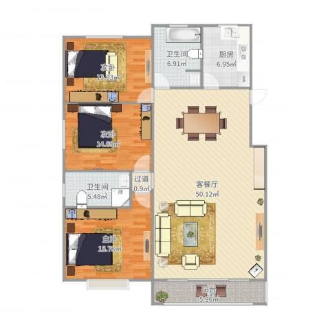 金汇华光城3室2厅2卫1厨150.00㎡户型图