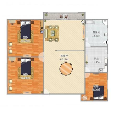 金汇华光城3室2厅1卫1厨198.00㎡户型图