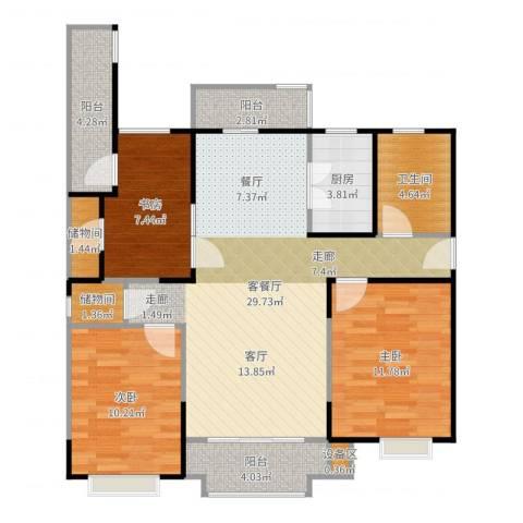 金铭福邸四期3室2厅1卫1厨102.00㎡户型图