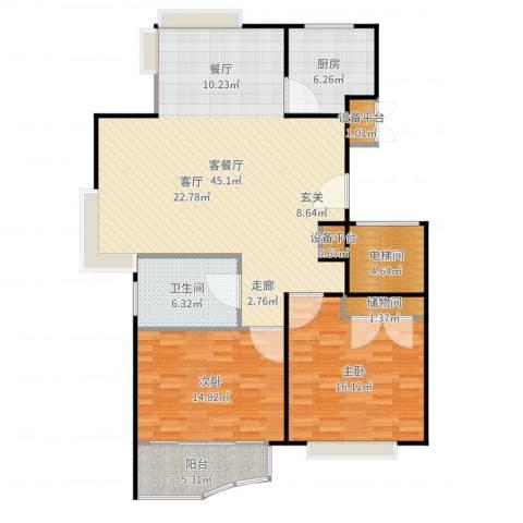 金铭福邸三期2室2厅1卫1厨127.00㎡户型图