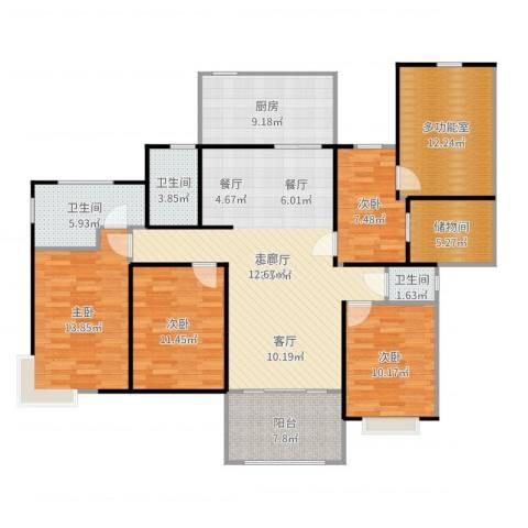 金铭福邸四期4室2厅3卫1厨153.00㎡户型图