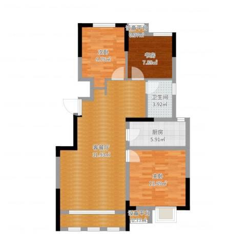 保利罗兰公馆3室2厅1卫1厨97.00㎡户型图