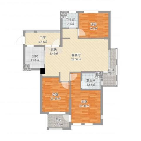西西那堤三期3室2厅2卫1厨110.00㎡户型图