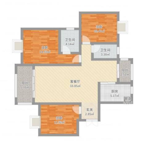 大唐金城3室2厅2卫1厨114.00㎡户型图