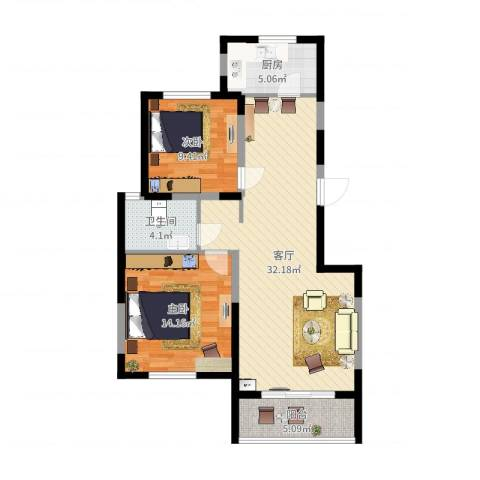 三湘盛世花园2室1厅1卫1厨88.00㎡户型图