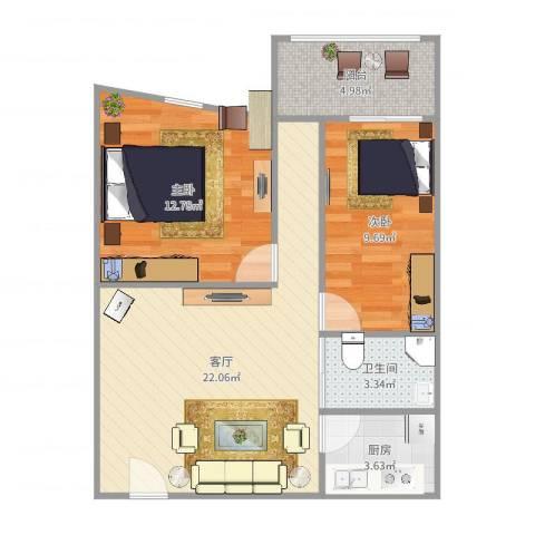 周门小区2室1厅1卫1厨71.00㎡户型图