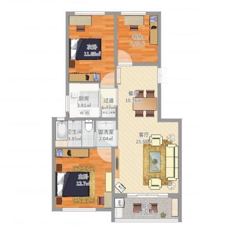 中粮南桥半岛3室3厅1卫1厨92.00㎡户型图