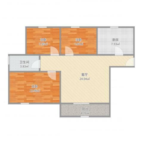金硕河畔景园3室1厅1卫1厨86.00㎡户型图