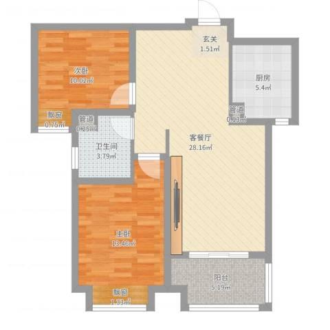 龙庭一品2室2厅1卫1厨83.00㎡户型图
