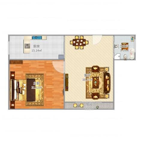 宝虹水岸景苑1室1厅1卫1厨124.00㎡户型图