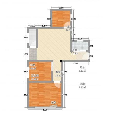 永福西约3室2厅1卫1厨66.00㎡户型图