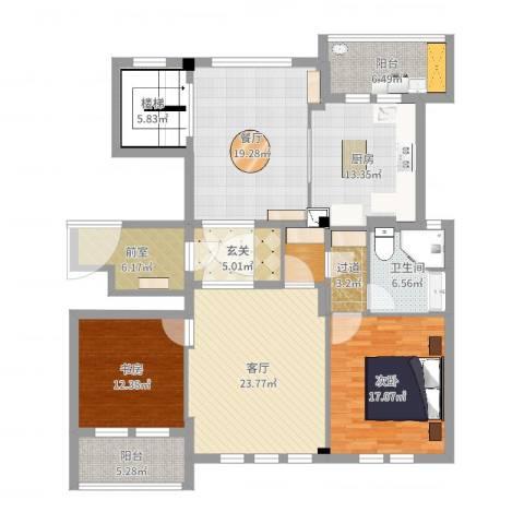 维科太子湾2室2厅1卫3厨158.00㎡户型图