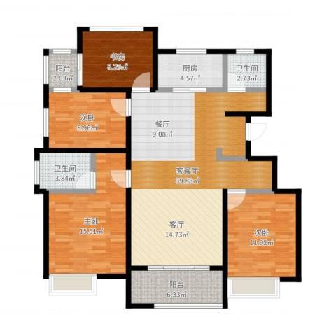 国贸仁皇4室2厅2卫1厨130.00㎡户型图